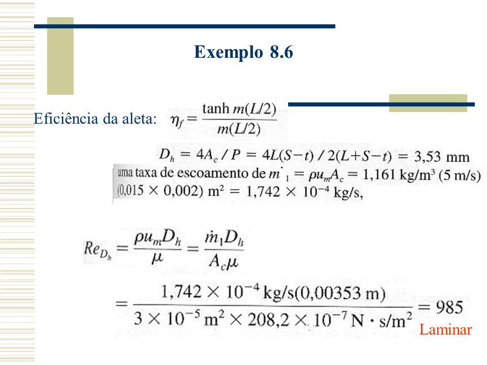 Exemplo 8.6 Eficiência da aleta: Laminar
