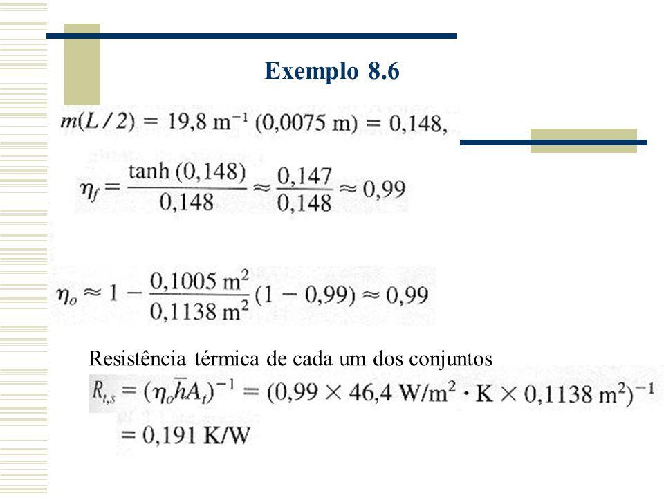 Resistência térmica de cada um dos conjuntos