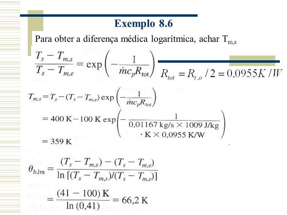 Exemplo 8.6 Para obter a diferença médica logarítmica, achar T m,s