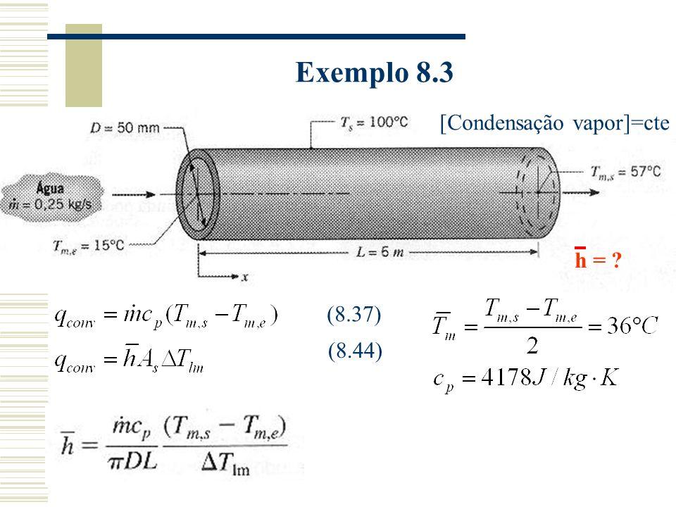 Exemplo 8.3 [Condensação vapor]=cte h = ? (8.37) (8.44)