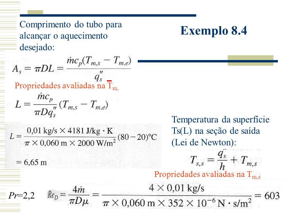 Exemplo 8.4 Comprimento do tubo para alcançar o aquecimento desejado: Temperatura da superfície Ts(L) na seção de saída (Lei de Newton): Propriedades