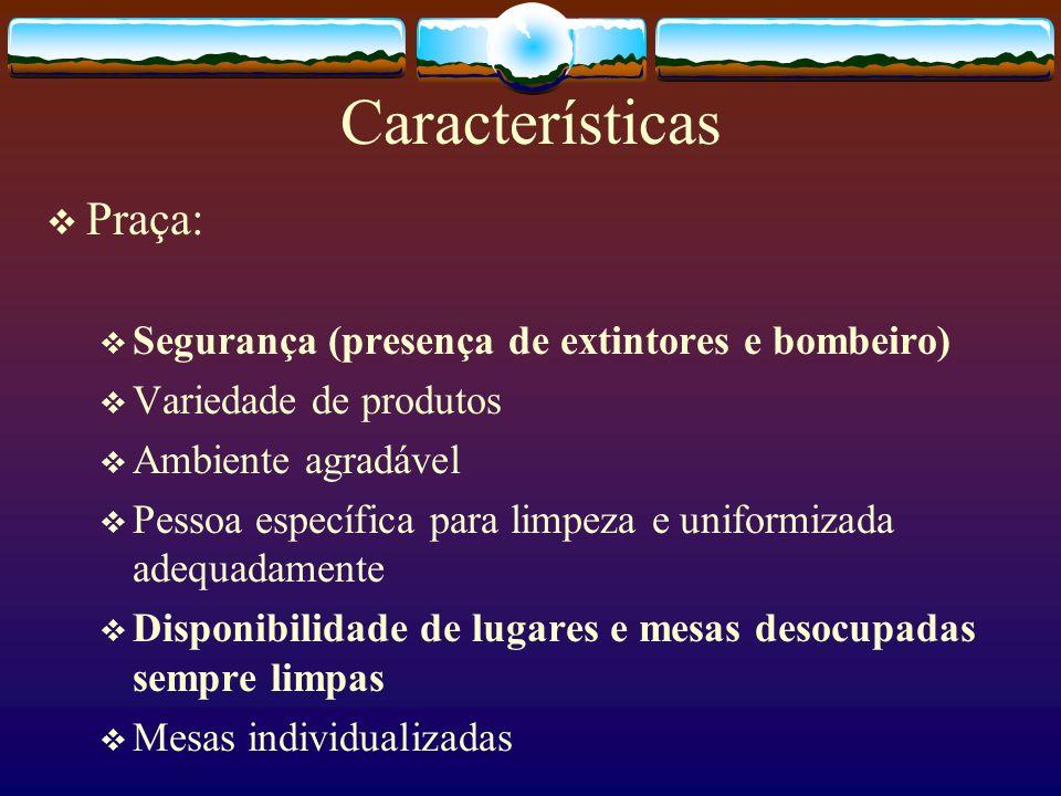 Características Praça: Facilidade de acesso a sanitários Público: classe A e B Boa ventilação (local aberto) Sistema de aquecimento (inverno) Não há coleta seletiva
