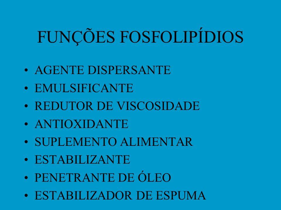 USOS DE FOSFOLIPÍDIOS ALIMENTOS-ALIMENTOS INSTANTÂNEOS, PROD. PANIFICAÇÃO, CHOCOLATE, MARGARINA, DIETÉTICOS COSMÉTICOS FARMACÊUTICOS- PARENTERAL / SUP