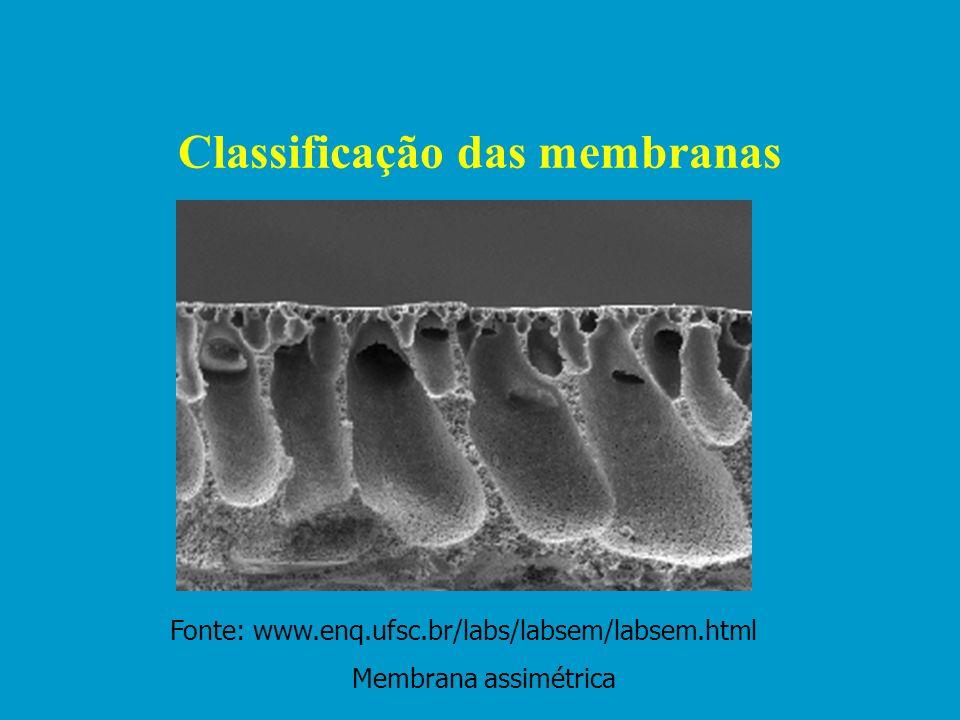 Classificação das membranas Estrutura Densa Porosa Material utilizado na produção poliméricos – ( PVDF,PES, PS, etc.) não poliméricos - Simétricas Ass