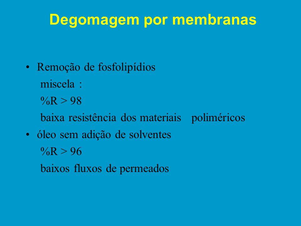 Características das membranas Perfil de tamanho dos poros Porosidade Fluxo de permeado Capacidade de separação - retenção de determinados solutos Resi