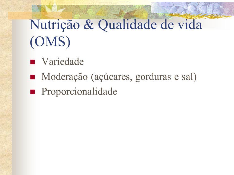 Nutrição & Qualidade de vida (OMS) Variedade Moderação (açúcares, gorduras e sal) Proporcionalidade