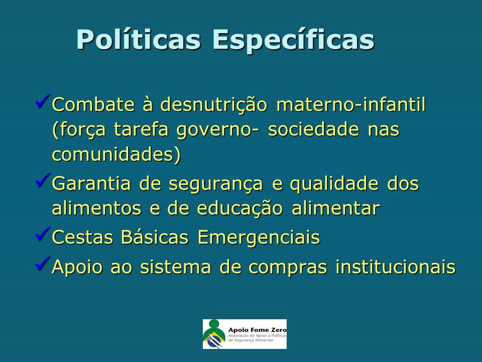 Políticas Específicas Combate à desnutrição materno-infantil (força tarefa governo- sociedade nas comunidades) Combate à desnutrição materno-infantil