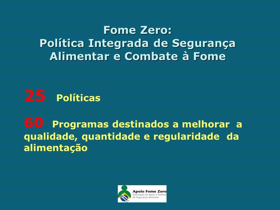 Fome Zero: Política Integrada de Segurança Alimentar e Combate à Fome 25 Políticas 60 Programas destinados a melhorar a qualidade, quantidade e regula