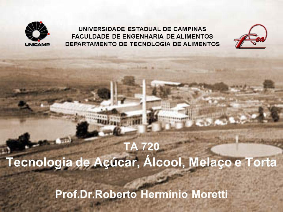 TA 720 Tecnologia de Açúcar, Álcool, Melaço e Torta Prof.Dr.Roberto Hermínio Moretti UNIVERSIDADE ESTADUAL DE CAMPINAS FACULDADE DE ENGENHARIA DE ALIM