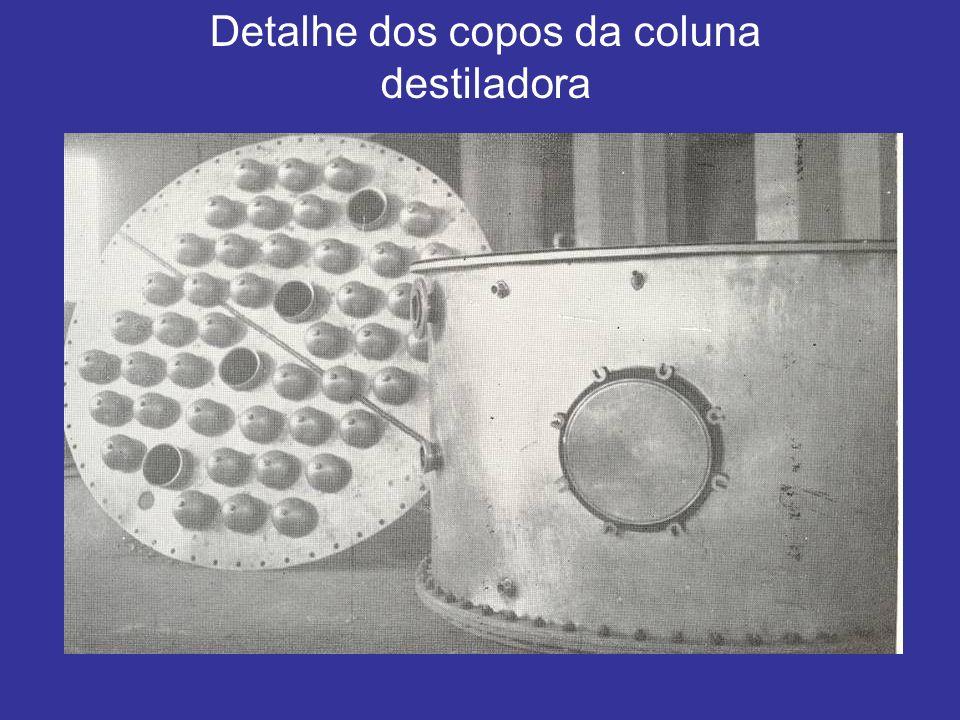 Detalhe dos copos da coluna destiladora