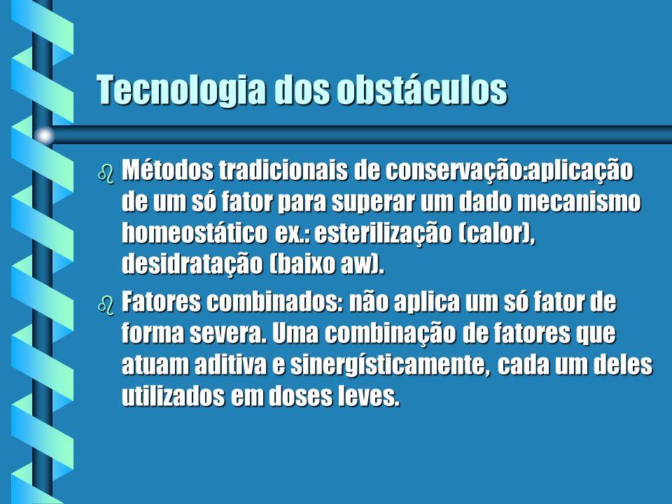 Tecnologia dos obstáculos b Métodos tradicionais de conservação:aplicação de um só fator para superar um dado mecanismo homeostático ex.: esterilizaçã
