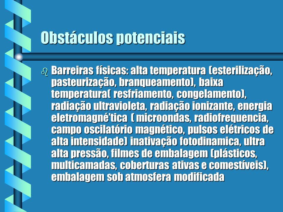 Obstáculos potenciais b Barreiras físicas: alta temperatura (esterilização, pasteurização, branqueamento), baixa temperatura( resfriamento, congelamen