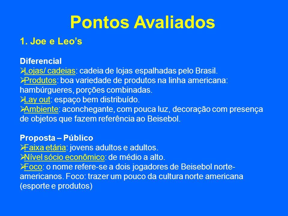 Pontos Avaliados 1. Joe e Leos Diferencial Lojas/ cadeias: cadeia de lojas espalhadas pelo Brasil. Produtos: boa variedade de produtos na linha americ