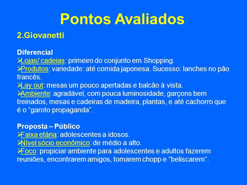Pontos Avaliados 2.Giovanetti Diferencial Lojas/ cadeias: primeiro do conjunto em Shopping. Produtos: variedade: até comida japonesa. Sucesso: lanches