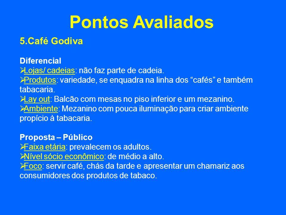 Pontos Avaliados 5.Café Godiva Diferencial Lojas/ cadeias: não faz parte de cadeia. Produtos: variedade, se enquadra na linha dos cafés e também tabac