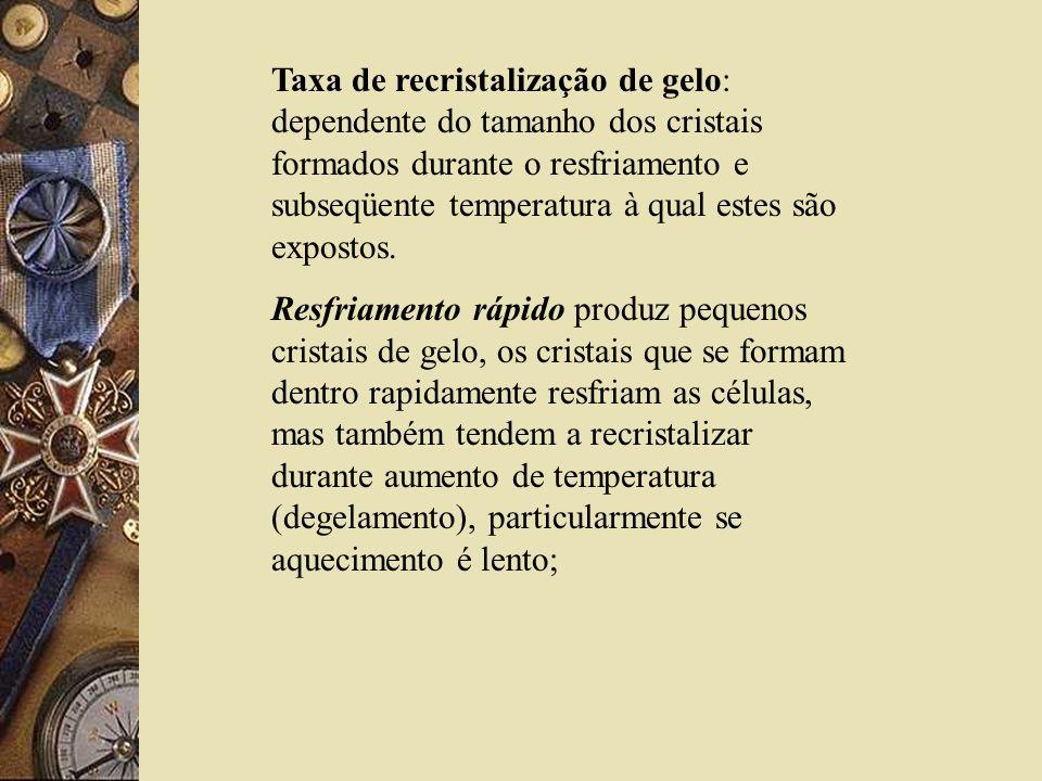 Taxa de recristalização de gelo: dependente do tamanho dos cristais formados durante o resfriamento e subseqüente temperatura à qual estes são exposto