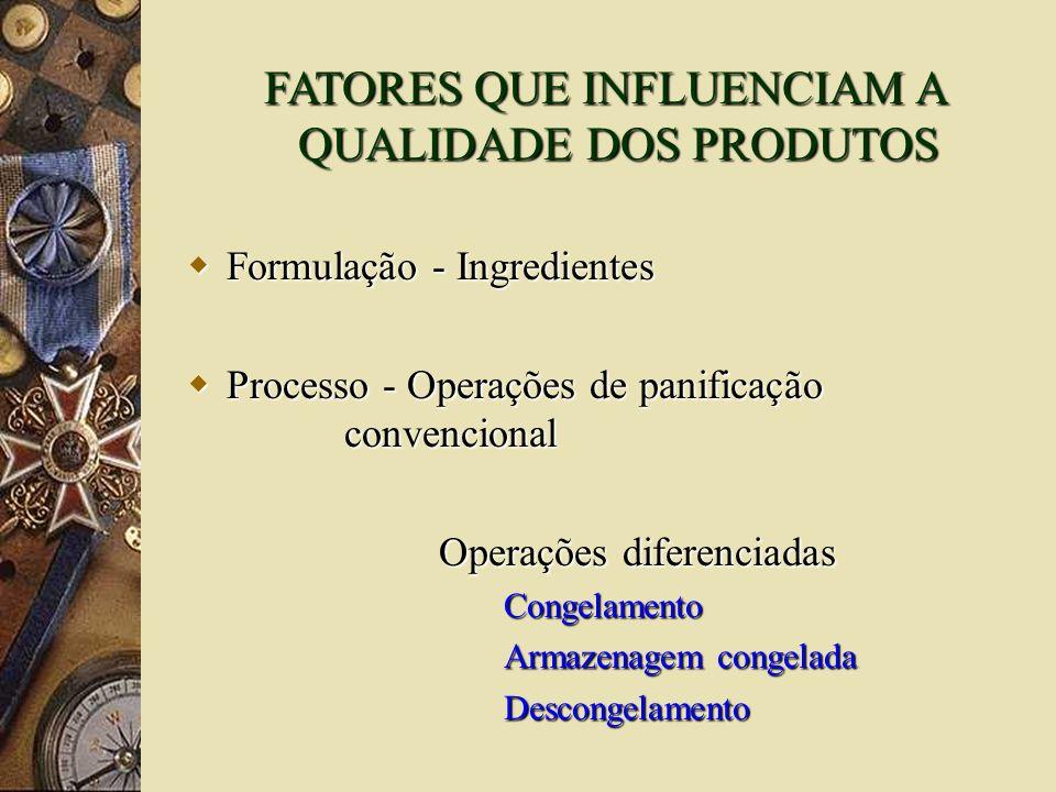 FATORES QUE INFLUENCIAM A QUALIDADE DOS PRODUTOS Formulação - Ingredientes Formulação - Ingredientes Processo - Operações de panificação convencional