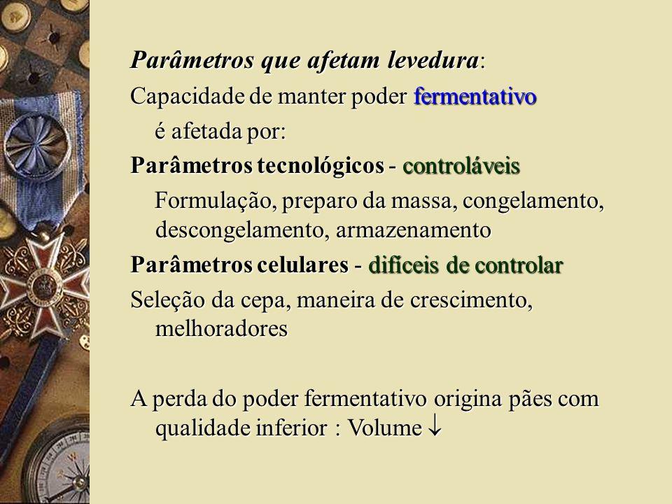 Parâmetros que afetam levedura : Capacidade de manter poder fermentativo é afetada por: é afetada por: Parâmetros tecnológicos - controláveis Formulaç