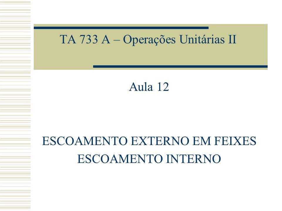TA 733 A – Operações Unitárias II Aula 12 ESCOAMENTO EXTERNO EM FEIXES ESCOAMENTO INTERNO