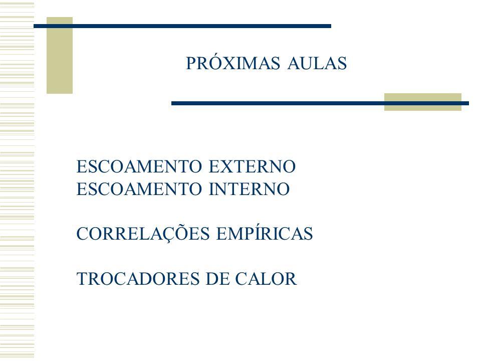 PRÓXIMAS AULAS ESCOAMENTO EXTERNO ESCOAMENTO INTERNO CORRELAÇÕES EMPÍRICAS TROCADORES DE CALOR