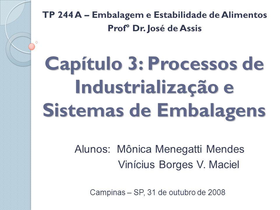 Capítulo 3: Processos de Industrialização e Sistemas de Embalagens Alunos: Mônica Menegatti Mendes Vinícius Borges V. Maciel Campinas – SP, 31 de outu