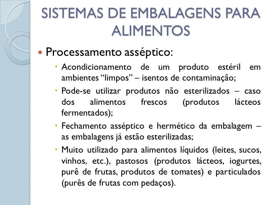 Processamento asséptico: Acondicionamento de um produto estéril em ambientes limpos – isentos de contaminação; Pode-se utilizar produtos não esterilizados – caso dos alimentos frescos (produtos lácteos fermentados); Fechamento asséptico e hermético da embalagem – as embalagens já estão esterilizadas; Muito utilizado para alimentos líquidos (leites, sucos, vinhos, etc.), pastosos (produtos lácteos, iogurtes, purê de frutas, produtos de tomates) e particulados (purês de frutas com pedaços).