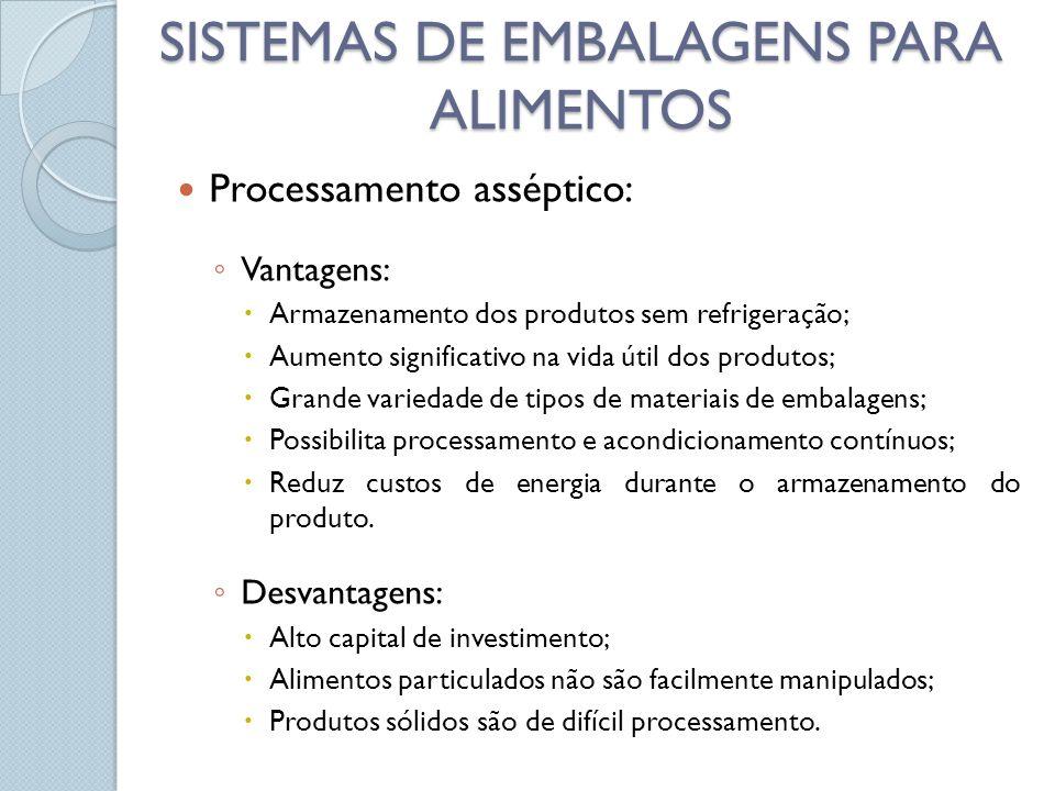 Processamento asséptico: Vantagens: Armazenamento dos produtos sem refrigeração; Aumento significativo na vida útil dos produtos; Grande variedade de tipos de materiais de embalagens; Possibilita processamento e acondicionamento contínuos; Reduz custos de energia durante o armazenamento do produto.