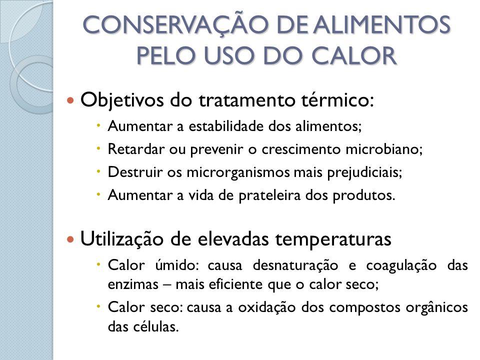CONSERVAÇÃO DE ALIMENTOS PELO USO DO CALOR Objetivos do tratamento térmico: Aumentar a estabilidade dos alimentos; Retardar ou prevenir o crescimento