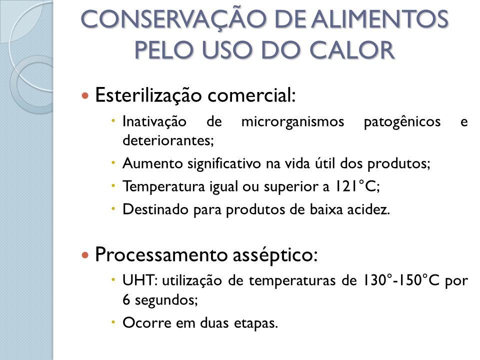 Esterilização comercial: Inativação de microrganismos patogênicos e deteriorantes; Aumento significativo na vida útil dos produtos; Temperatura igual