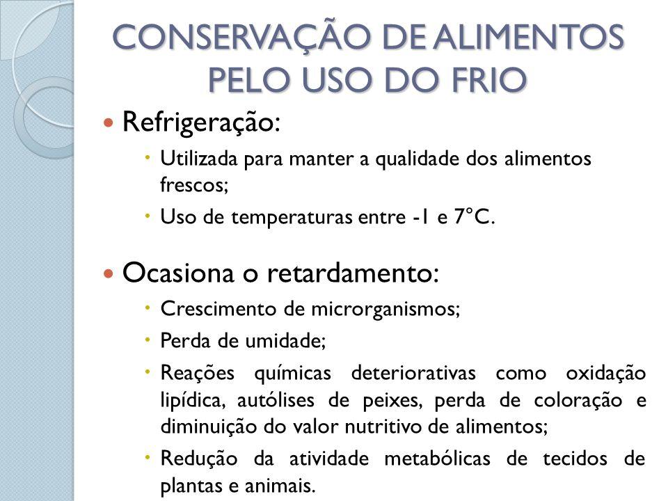 Refrigeração: Utilizada para manter a qualidade dos alimentos frescos; Uso de temperaturas entre -1 e 7°C. Ocasiona o retardamento: Crescimento de mic