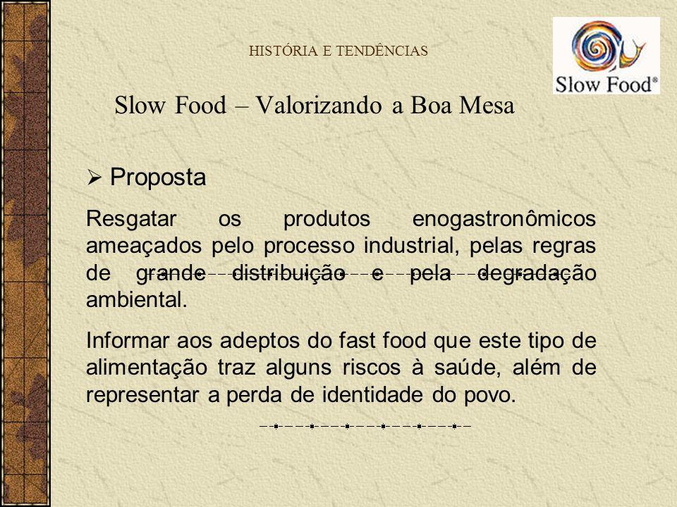 HISTÓRIA E TENDÊNCIAS Slow Food – Valorizando a Boa Mesa Proposta Resgatar os produtos enogastronômicos ameaçados pelo processo industrial, pelas regr