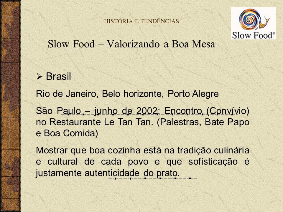 HISTÓRIA E TENDÊNCIAS Slow Food – Valorizando a Boa Mesa Brasil Rio de Janeiro, Belo horizonte, Porto Alegre São Paulo – junho de 2002: Encontro (Conv