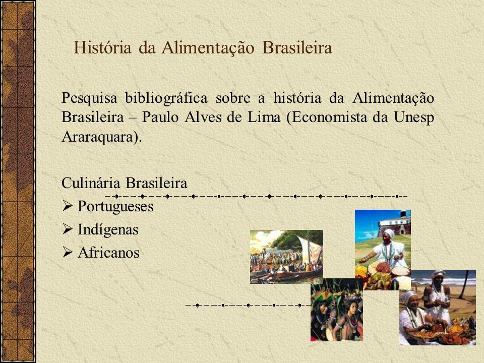 Miscigenação Portugueses (especiarias) + Indígenas (raízes) África - Navios Negreiros - Escravas cozinheiras (azeite de dendê, leite de coco, inhame, feijão, pimenta,...