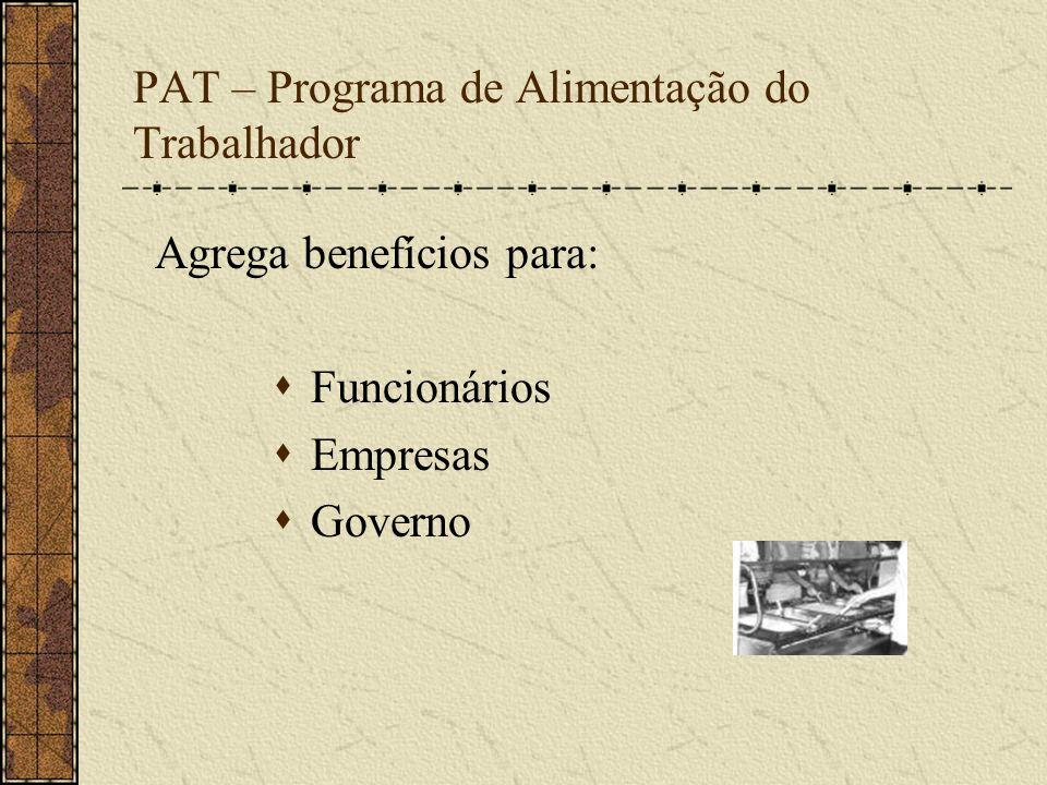 PAT – Programa de Alimentação do Trabalhador Agrega benefícios para: Funcionários Empresas Governo