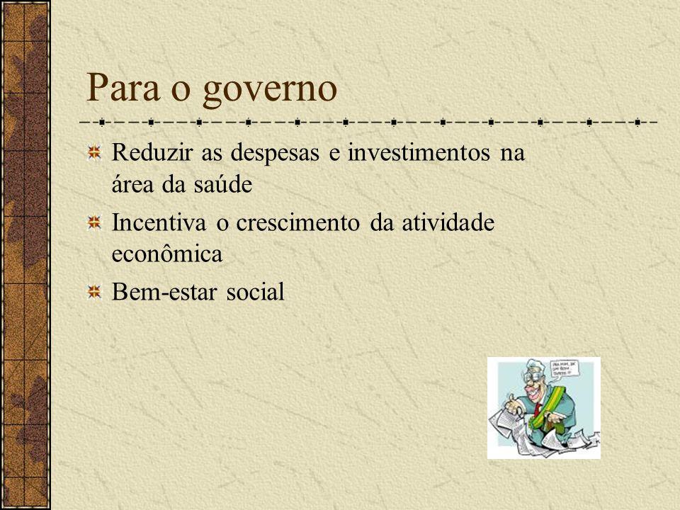 Para o governo Reduzir as despesas e investimentos na área da saúde Incentiva o crescimento da atividade econômica Bem-estar social