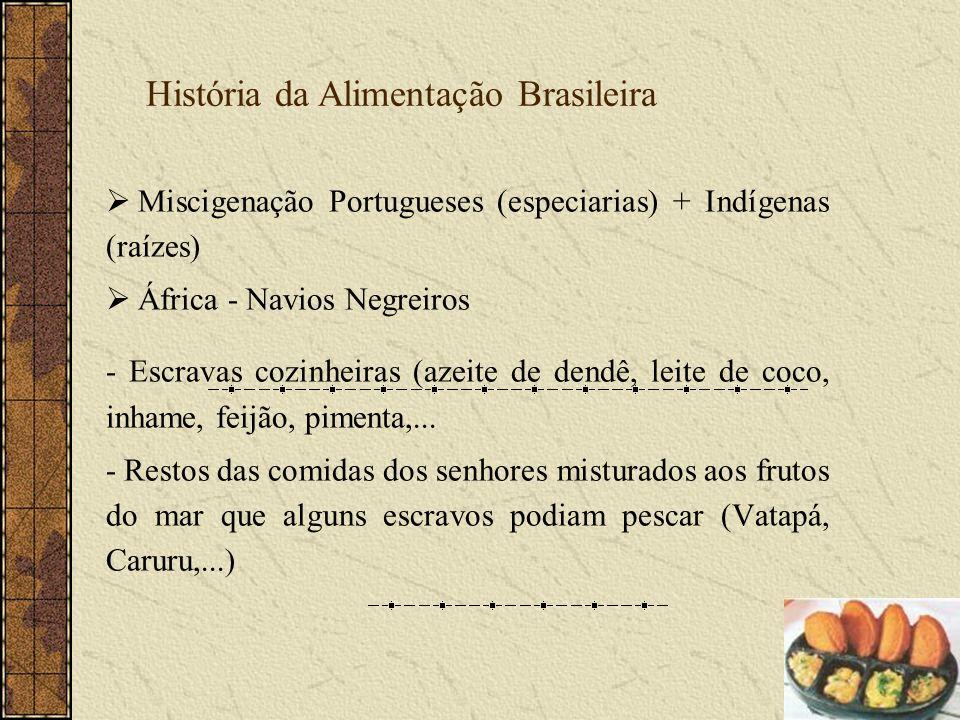 Miscigenação Portugueses (especiarias) + Indígenas (raízes) África - Navios Negreiros - Escravas cozinheiras (azeite de dendê, leite de coco, inhame,