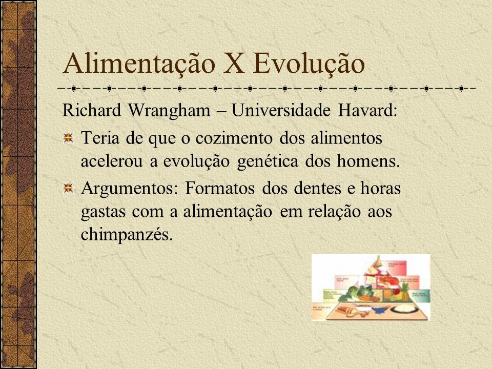 Alimentação X Evolução Richard Wrangham – Universidade Havard: Teria de que o cozimento dos alimentos acelerou a evolução genética dos homens. Argumen