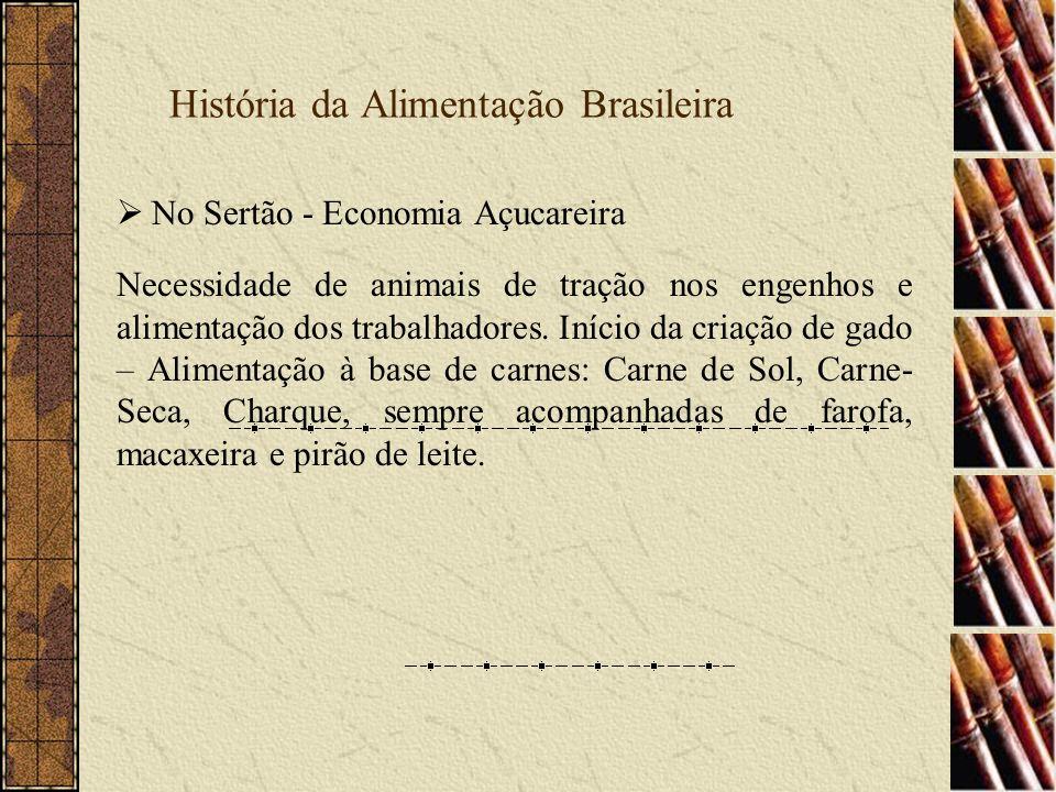 História da Alimentação Brasileira No Sul Carne – também a base da alimentação Bandeirantes Paulistas - fim do ciclo do ouro - conquista das planícies do Sul - mobilidade CHURRASCO GAÚCHO CARNE, SAL E FOGO