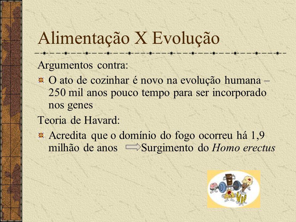 Alimentação X Evolução Argumentos contra: O ato de cozinhar é novo na evolução humana – 250 mil anos pouco tempo para ser incorporado nos genes Teoria