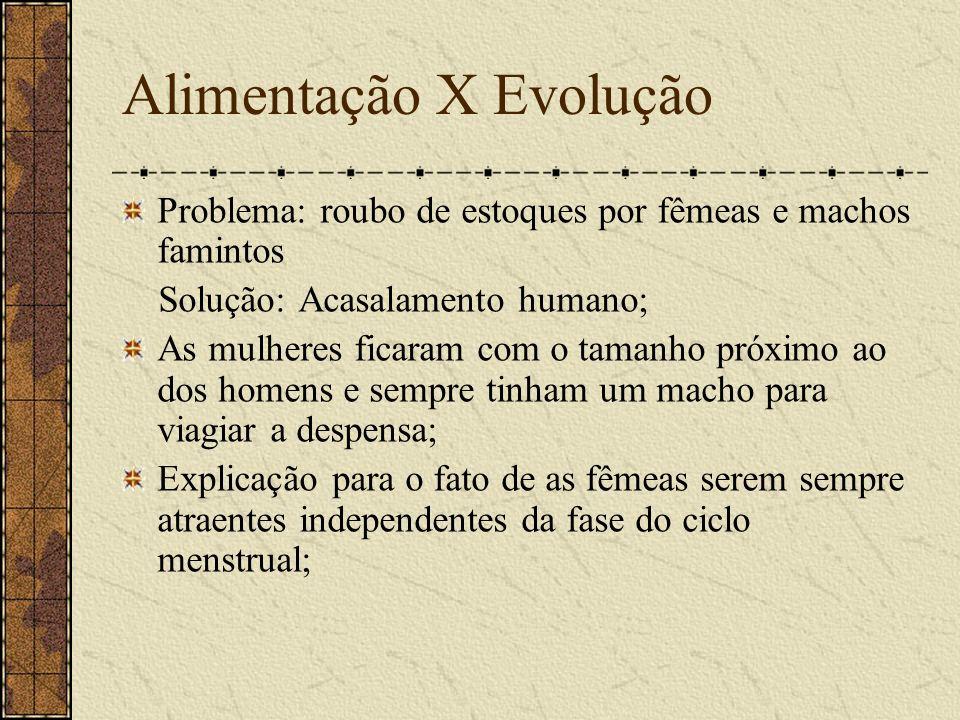 Alimentação X Evolução Problema: roubo de estoques por fêmeas e machos famintos Solução: Acasalamento humano; As mulheres ficaram com o tamanho próxim