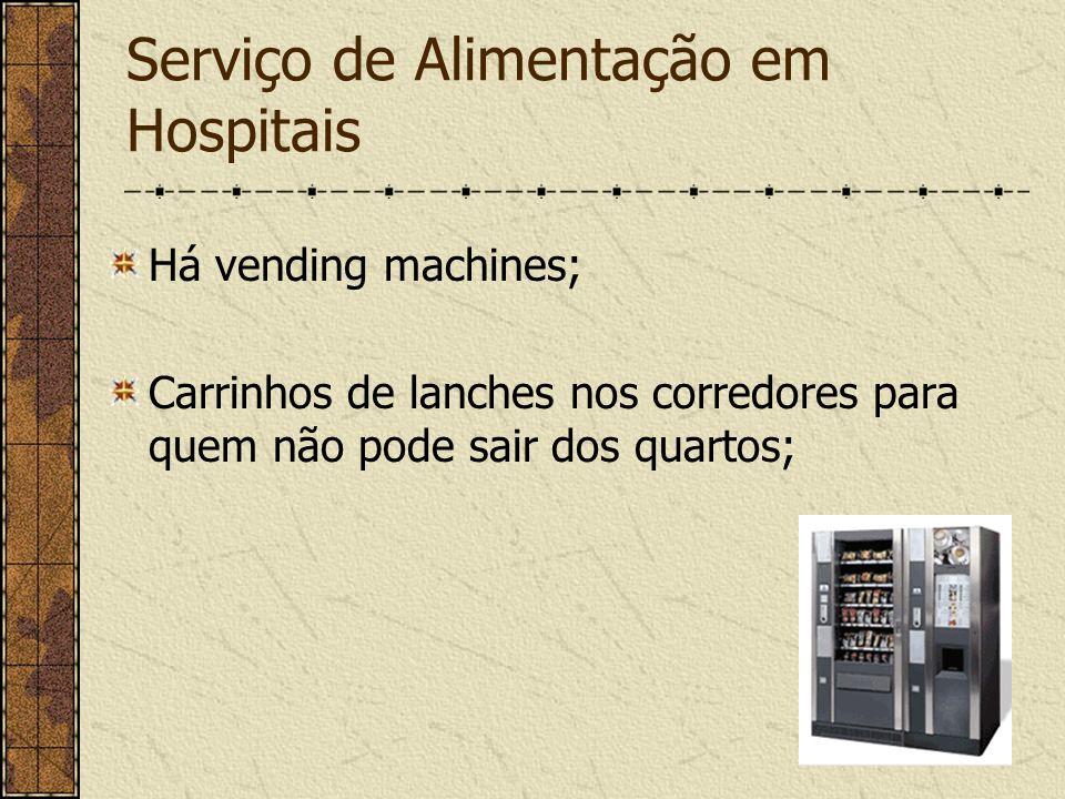 Serviço de Alimentação em Hospitais Há vending machines; Carrinhos de lanches nos corredores para quem não pode sair dos quartos;