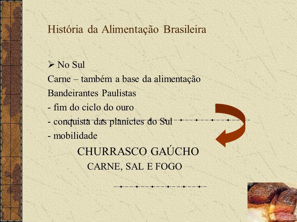 História da Alimentação Brasileira No Sul Carne – também a base da alimentação Bandeirantes Paulistas - fim do ciclo do ouro - conquista das planícies