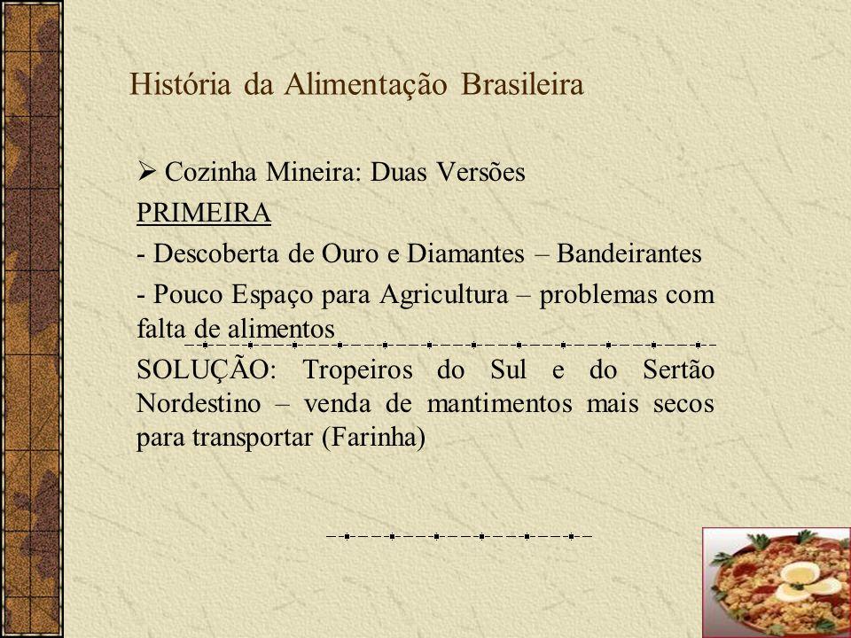 História da Alimentação Brasileira Cozinha Mineira: Duas Versões PRIMEIRA - Descoberta de Ouro e Diamantes – Bandeirantes - Pouco Espaço para Agricult