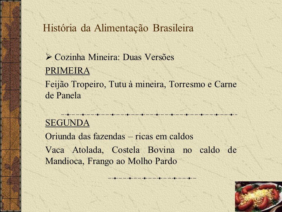 História da Alimentação Brasileira Cozinha Mineira: Duas Versões PRIMEIRA Feijão Tropeiro, Tutu à mineira, Torresmo e Carne de Panela SEGUNDA Oriunda