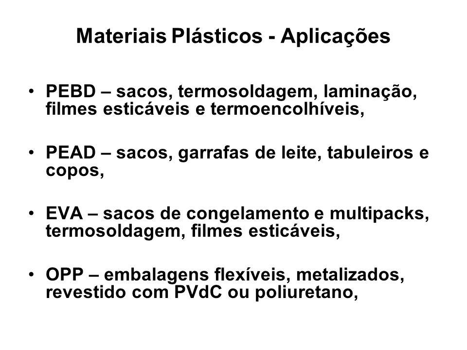 Materiais Plásticos - Aplicações PEBD – sacos, termosoldagem, laminação, filmes esticáveis e termoencolhíveis, PEAD – sacos, garrafas de leite, tabule