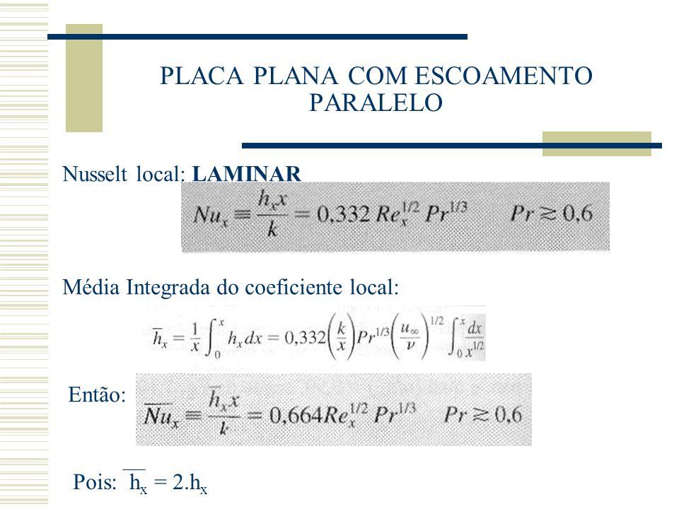 PLACA PLANA COM ESCOAMENTO PARALELO Nusselt local: LAMINAR Média Integrada do coeficiente local: Então: Pois: h x = 2.h x