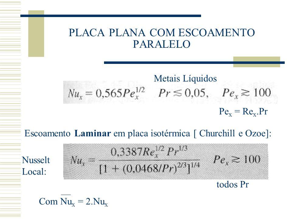 PLACA PLANA COM ESCOAMENTO PARALELO Pe x = Re x.Pr Metais Líquidos Escoamento Laminar em placa isotérmica [ Churchill e Ozoe]: Com Nu x = 2.Nu x Nusse