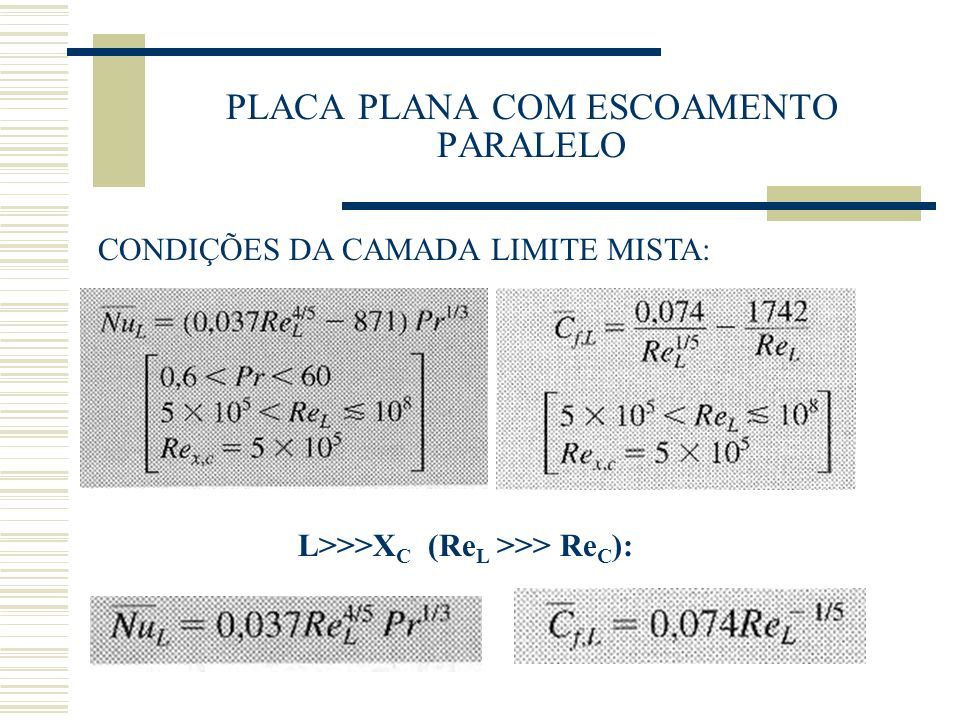 PLACA PLANA COM ESCOAMENTO PARALELO CONDIÇÕES DA CAMADA LIMITE MISTA: L>>>X C (Re L >>> Re C ):