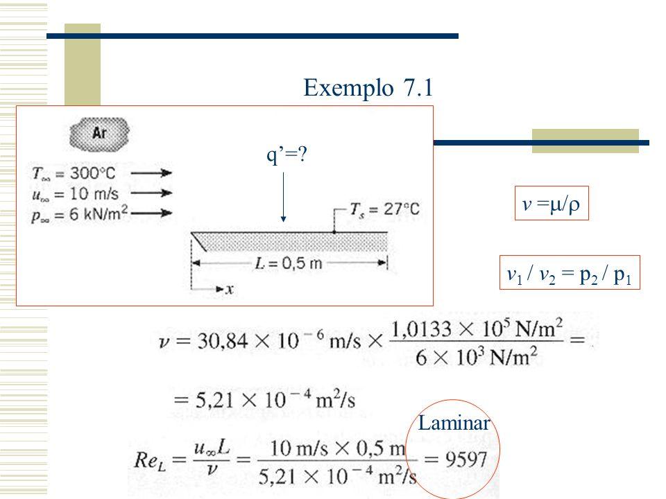 Exemplo 7.1 q=? v 1 / v 2 = p 2 / p 1 v = / Laminar