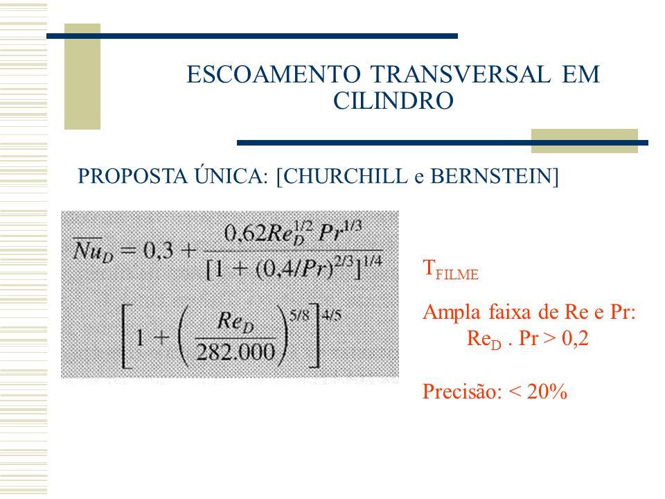 ESCOAMENTO TRANSVERSAL EM CILINDRO PROPOSTA ÚNICA: [CHURCHILL e BERNSTEIN] T FILME Ampla faixa de Re e Pr: Re D. Pr > 0,2 Precisão: < 20%